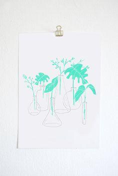 original screen print poster / art print / illustrated botanical print- A4 poster