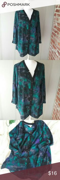 Catherines 14/16 WP Turquoise print Blouse This is a Catherine's brand 14/16 WP turquoise print tunic blouse. It is a polyester blend 97% polyester 3% spandex. It is a petite size. It is in great pre-owned condition. Catherines  Tops Blouses