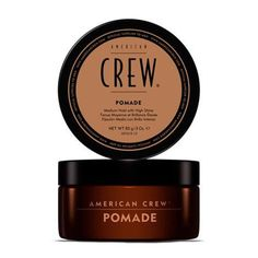 American Crew Pomade offers a medium hold factor with high shine. Extremely versatile water-based formula rinses clean and offers smooth control with shine. Works well for curly hair and provides a mo