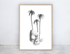 High Dry: Skull Palm Trees Sketch Drawing by NineLivesCollective Palm Tree Sketch, Tree Sketches, Printable Art, Printables, Sketch Drawing, Palm Trees, Skull, Ink, Black And White