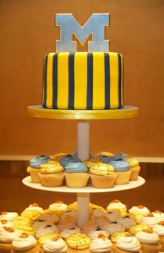 cupcakes, blue, cake stand, fondant, groom's cakes, round, single-tier, stripes, yellow, south asian, cultural, cake, Ann Arbor, Michigan