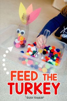 Feed the Turkey Thanksgiving Activity - Busy Toddler You have to make this Feed the Turkey activity. An easy Thanksgiving activity for toddlers that works on fine motor skills. A quick & easy toddler activity. Toddler Learning Activities, Autumn Activities, Fine Motor Activities For Kids, Motor Skills Activities, Fine Motor Activity, Fall Activities For Toddlers, Play Activity, Toddler Activity Table, Learning For Toddlers