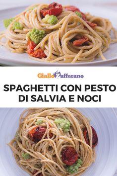 Gli SPAGHETTI CON PESTA DI SALVIA E NOCI sono un primo piatto originale saporito, per chi ama sperimentare in cucina: gli spaghetti sono abbracciato da una crema a base di salvia, noci e formaggi e arricchiti da pomodorini infornati e broccolo romanesco! #giallozafferano #pasta #spaghetti #italianfood #italianrecipe #primipiatti #salvia #sage #noci #walnut #pesto [Italian food: spaghetti with sage and walnut pesto] Broccolo Romanesco, Vegan Vegetarian, Pesto, Broccoli, Spaghetti, Ethnic Recipes, Food, Dinner, Essen