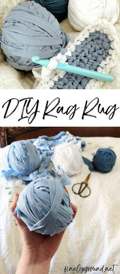 How to Crochet a Rag Rug How to crochet a rag rug -- quicker and easier than you'd think!How to crochet a rag rug -- quicker and easier than you'd think! Crochet Diy, Crochet Crafts, Fabric Crafts, Rag Rug Crochet, Simple Crochet, Blanket Crochet, Vinyl Crafts, Rag Rug Diy, Diy Rugs