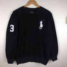 Rare Vintage POLO RALPH LAUREN Big Pony 3 Black Pullover