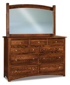 "Amish Finland 66"" Nine Drawer Dresser with Optional Mirror 9 drawers to fill with your fine things! Pick the wood that will match your bedroom best from 9 different wood options. Customizable wood bedroom furniture built to perform from DutchCrafters. #bedroom #bedroomstorage #bedroomdresser #dressers"