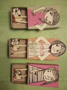 Girls on matchboxes.