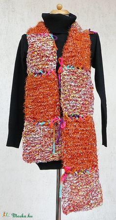 """"""" Őszi levél"""" sál, négyzetekből (kepibag) - Meska.hu Vest, Knitting, Crochet, Jackets, Fashion, Down Jackets, Moda, Tricot, Fashion Styles"""