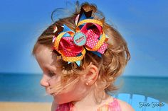 Beach Beauty Bottle Cap Bow by threepeasboutique on Etsy, $10.00