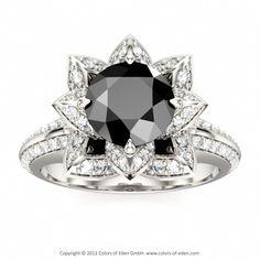 Black Diamond Lotus Engagement Ring
