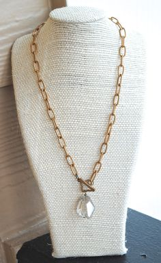 Grey Crystal Chain Necklace. Edisto Collection. Antique Brass Chain.