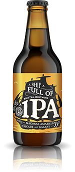 A SHIP FULL OF BRUTAL BREWING IPA / Here comes A Ship Full of Brutal Brewing IPA, sailing the ocean of modern hops with a hull of solid malts and a refreshing, yet daring, bitterness. Although its strength might be closer to the traditional IPAs of old, the taste is anything but. Amarillo, Cascade and Galaxy hops bring a full plate of tropic aromas to the table.