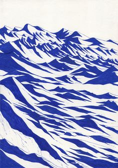 "illustration ""blue lines"" serie by Kevin Lucbert (France)"