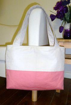 Natural & Coral Coloured Linen Tote Bag