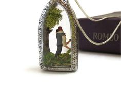 I love you .... Miniature Terrarium Necklace, Lovers Gift, Mini Diorama, Message Necklace, Terrarium Necklace. $45.00, via Etsy.