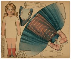 American paper doll, Dolls of the Nations: Norway, by J.V. Sloan|Boston Sunday Globe, circa 1909.