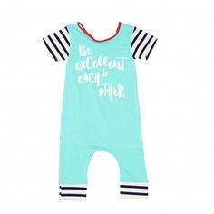 90bf731df4f teal black and white stripe short sleeve romper baby boy romper baby girl  romper. gender