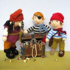 Knit one of these rascally pirates and you could find your treasure chest plundered! Children will love this motley crew consisting of a captain and two shipmates. They can be made to look fierce or friendly.One has an eye patch and the other has a leg with a stump and an arm with a hook. Both stump and hook are optional and can be omitted if child safety is an issue (details in pattern).SIZE -20cm (8in)PATTERN - The pattern is easy to follow with lots of coloured pictures to assist with…