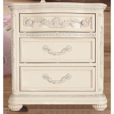 Lea Industries Jessica McClintock Drawer Nightstand - Home Furniture Showroom Cheap Bedroom Furniture, Led Furniture, Mirrored Furniture, Furniture Showroom, Large Furniture, Girls Furniture, White Drawers, 3 Drawer Nightstand, Online Furniture Stores