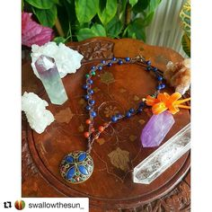 """Just loving everything about @swallowthesun_ her jewelry her colorful photos her positive energy! Check out her page and be delighted by what's there!  #Repost @swallowthesun_ with @repostapp  """"Emotional warrior you are safe"""" - new earthy necklace.  Listed in the shop  This is a comfort piece indeed the mix of lapis lazuli and red jasper's energies is so soothing kind of like they're whispering """"everything is going to be alright"""". I decided to use one of my gorgeous Tibetan inspired pendants…"""