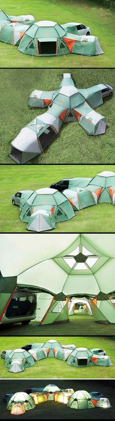 "The Decagon Link Station has modules available to make your own interesting solution. Link, dome, link screen and the car tarp are all possibilities for making a most amazing compound fit for anyone wanting to camp. Create a centralized hub with ""wings"" for cohabitation or group everything as you see fit for a more modular and house-like effort."