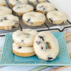 Blueberry Donuts. for vanilla bean glaze: http://www.heatherchristo.com/cooks/2012/03/07/blueberry-donuts-with-vanilla-bean-glaze/ for blueberry cinnamon donuts: http://www.bigmamashomekitchen.com/2011/08/blueberry-cinnamon-cake-donuts-with.html