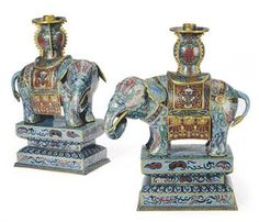 A PAIR OF CHINESE CLOISONNE ENAMEL ELEPHANT-FORM CANDLESTICKS ON STANDShttp://www.christies.com/