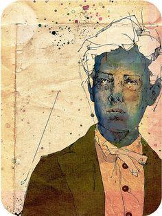 """Arthur Rimbaud by Pedro Covo"" illustration on paper watercolor Hair drawing, face paint Illustrations, Illustration Art, Collages, Street Art, Kunst Online, Graffiti Artwork, Portrait Art, Medium Art, Figurative Art"