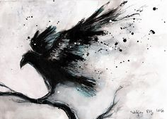 peinture à lencre 8x12in sur toile roll abstrait corbeau