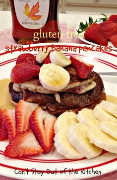 Gluten Free Strawberry Banana Pancakes - healthy, delicious, AMAZING! The #pancake batter is filled with #bananas and #strawberries. #glutenfree #breakfast | Can't Stay Out of the Kitchen