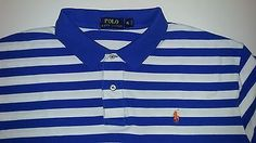 Polo RALPH LAUREN Blue White Striped Cotton Polo Shirt Mens XL Orange Pony
