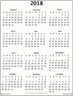 2018 calendar yearly