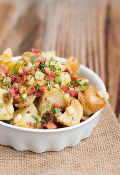 German Potato Salad with Corn and the best dressing ever ohsweetbasil.com