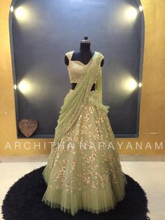 Stunning pista green color lehenga and gold sequence blouse with pists green color net dupatta. Lehenga and dupatta with floret lata design hand embroidery gold thread work. Party Wear Lehenga, Party Wear Dresses, Bridal Dresses, Prom Dresses, Ghagra Choli, Bridal Lehenga Choli, Long Choli Lehenga, Gold Lehenga, Sharara