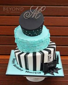 Round teal, black and white topsy turvy bake with ruffle feature