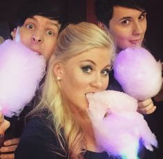 "Sprinkle of Glitter. Phil and Louise, are jsut loving the cotton candy, Dan's just like ""LICK"" Daniel James Howell, Dan Howell, Phil 3, Dan And Phil, Youtube Vloggers, Sprinkle Of Glitter, British Youtubers, Danisnotonfire And Amazingphil, The Good Dinosaur"