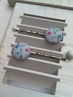 Light Blue Flowered Fabric Covered Button Bobby Pins