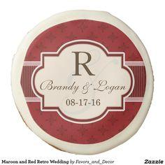 Maroon and Red Retro Wedding Sugar Cookie