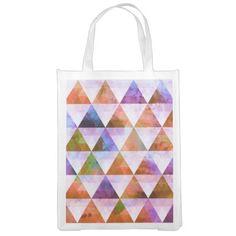 Modern Purple & Orange Geometric Triangle Design Market Tote