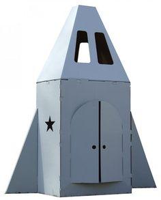 Cardboard rocket ship.
