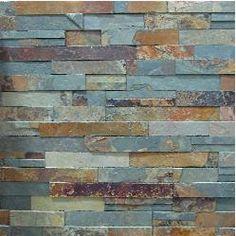 Slate Tile | Natural Stone & Tile Stone Tile Fireplace, Fireplace Wall, Fireplace Mantels, Stone Backsplash, Stone Tiles, Rock Fireplaces, Brick And Stone, Kitchen Backsplash, Kitchen Stove