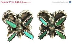40% OFF SALE Vintage Zuni Sterling Silver & Needlepoint Turquoise Butterfly Earrings