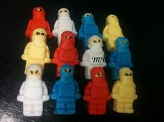 12 Edible Gumpaste White Yellow Red Blue Green Lego by microcakes, $26.95
