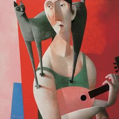 Peter Harskamp ~ Man with Green Cat and Mandolin, oil on canvas, Black Cat Art, Red Cat, Unusual Art, Art Station, Cat Cards, Cat People, True Art, Moon Art, Pictures To Draw