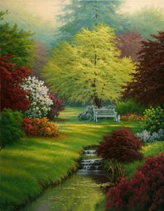 Magical garden Alternatives to Grass for your Backyard For a few, lowering costs can be Beautiful Paintings, Beautiful Landscapes, Beautiful Gardens, Landscape Art, Landscape Paintings, Nature Pictures, Beautiful Pictures, Kinkade Paintings, Garden Painting