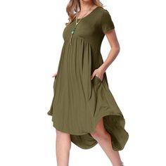 a55b56cd0ef YONYWA - Fashion Women Solid Casual Loose Knee-Length Dresses - Walmart.com