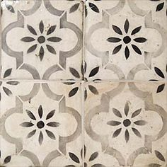 #baldosa #terracota #geometrica MAYBE SPLURGE ON REAL CEMENT TILE FOR FIREPLACE SURROUND?