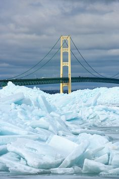 Blue Ice at the Mackinac Bridge in Mackinaw City Feb 2018 Michigan Travel, Lake Michigan, Mackinac Island Bridge, Mackinaw City, Picture Places, Big Mac, Tornados, Northern Michigan, Beach Town