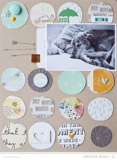 Hand cut circles. Arrows point to hidden journaling.