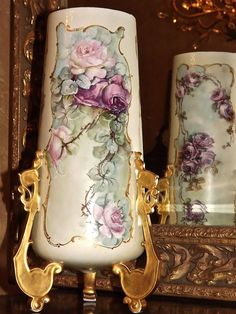 Limoges Splendid Huge Gold Footed Jardiniere/Urn/Vase with Three Panels of Pink and Red Roses